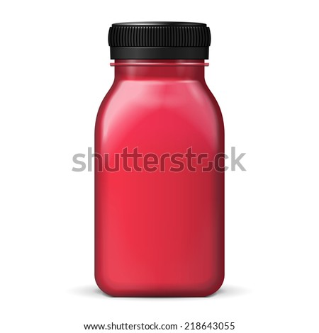 Juice Or Jam Glass Red Violet Purple Bottle Jar On White Background Isolated. Ready For Your Design. Product Packing. Vector EPS10 - stock vector