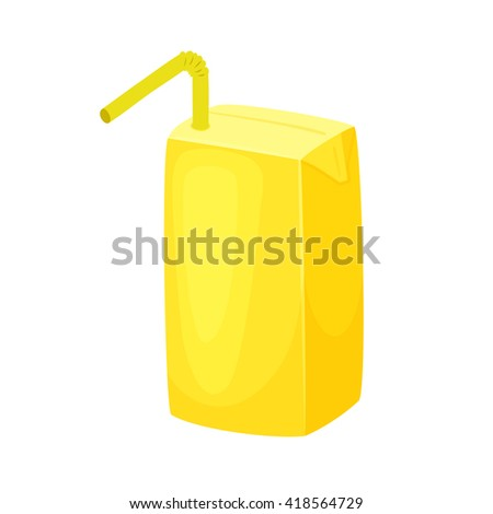 Juice package blank. Milk box with straw.  - stock vector