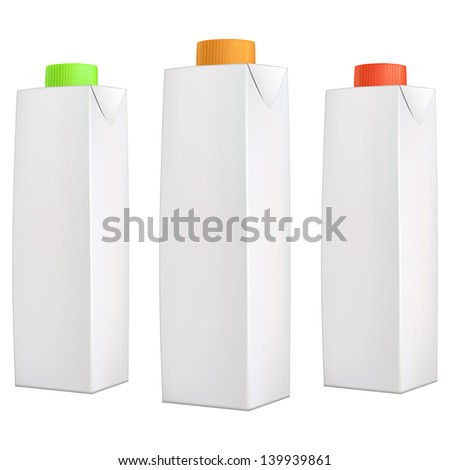 Juice packs with green, orange and red lids isolated on white background - stock vector