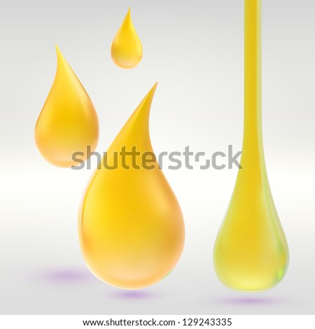 Juice, paint, oil or cosmetic liquid yellow drops, vector eps10 illustration clip art icon - stock vector