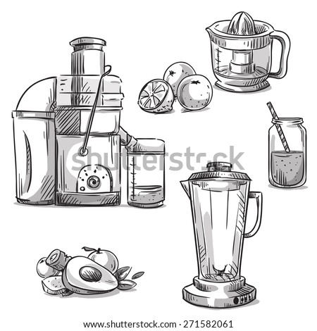 Juicers. Juicing machines. Blender. Healthy diet.  - stock vector