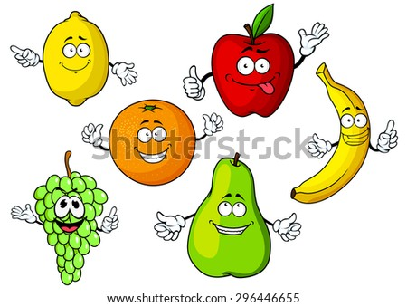 Juicy fresh cartoon apple, lemon, orange, banana, grape bunch and pear fruits characters with cute smiling faces, isolated on white background, for agriculture or vegetarian food design - stock vector