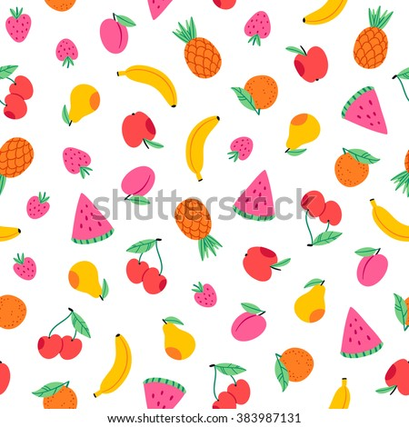 Juicy fruits and berries seamless pattern - stock vector