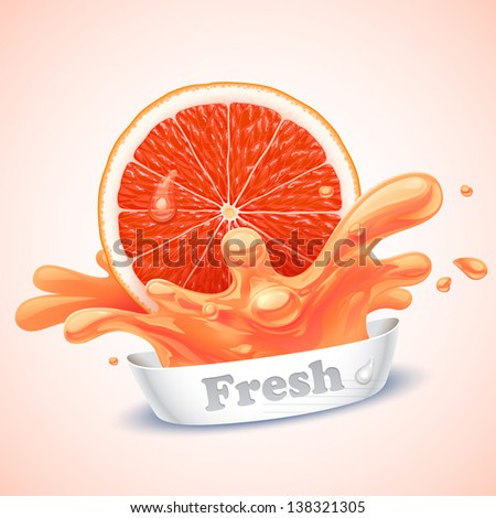 Juicy grapefruit - stock vector