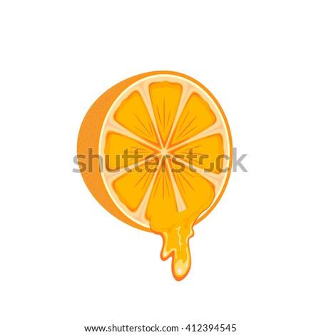 Juicy orange - stock vector