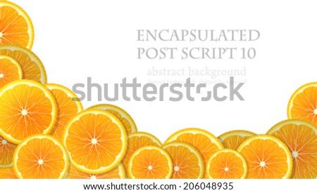 Juicy orange slices on a white background - stock vector