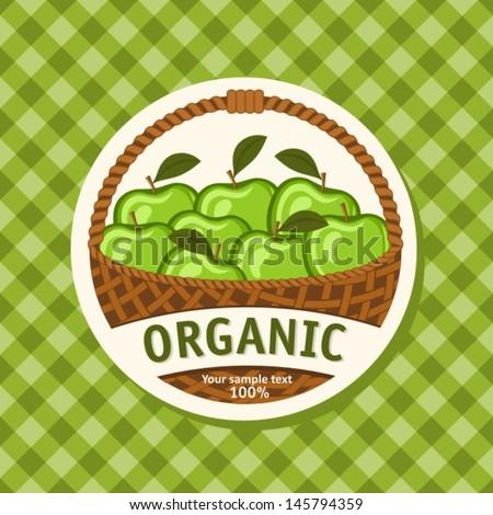 Juicy Sweet Apples in Woven Basket. Vector Illustration - stock vector