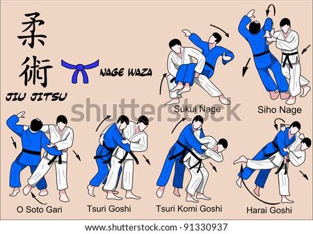 JuJitsu blue belt - stock vector