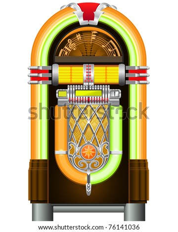 Jukebox - automated retro music-playing device - stock vector