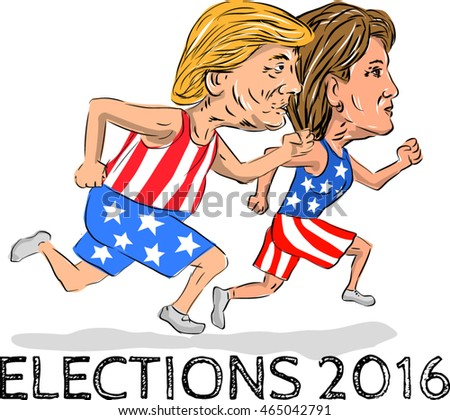 Jul 8, 2016:Illustration showing Republican Donald Trump and Democrat Hillary Clinton run running race for president in Election 2016 done in cartoon style.