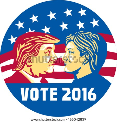 Jul 8, 2016:Illustration showing Republican Donald Trump versus Democrat Hillary Clinton face-off for American president for Vote 2016 with stars and stripes set inside circle done retro art style.