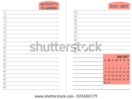 July 2017 Calendar Template Monthly Planner Template With Daily Routine  Check List, Activity Schedule Chart  Daily Routine Chart Template