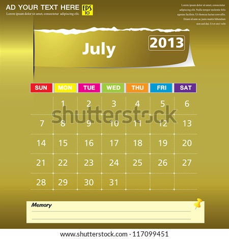 July 2013 calendar vector illustration