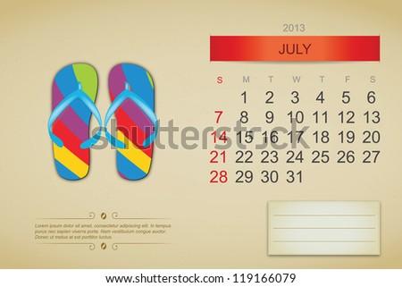 July 2013 calendar. Vector illustration - stock vector