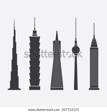 July 28, 2014: Collection of Abstract Vector Illustrations of Five Famous Skyscrapers: Burj Khalifa, Taipei 101, Transamerica Pyramid, Berlin TV Tower, Chrysler Building - For Editorial Use - stock vector