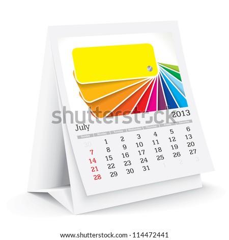 july 2013 desk calendar - stock vector