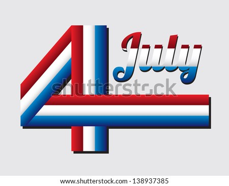 July four over gray background vector illustration - stock vector