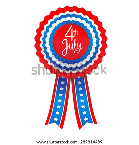 July fourth badge. Holiday ribbon isolated on white background  - stock vector