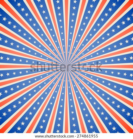 July 4, Independence Day white, red and blue burst vector background. - stock vector