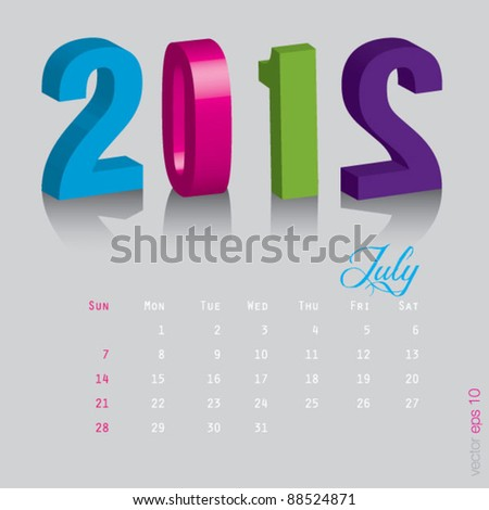 July New year 2012. Calendar 3d vector on gray background
