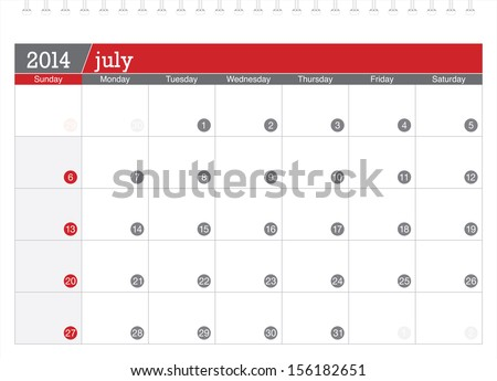 july 2014 planning calendar - stock vector