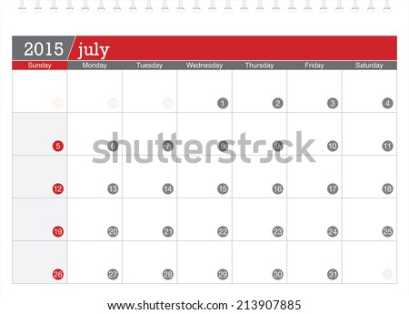July 2015 planning calendar - stock vector