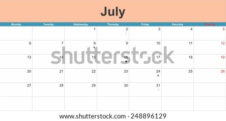 July 2015 planning calendar. Illustration - stock vector