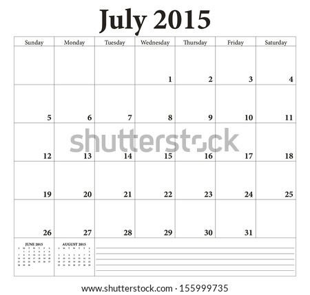 July  2015 -planning calendar. Weeks start on Sunday. - stock vector
