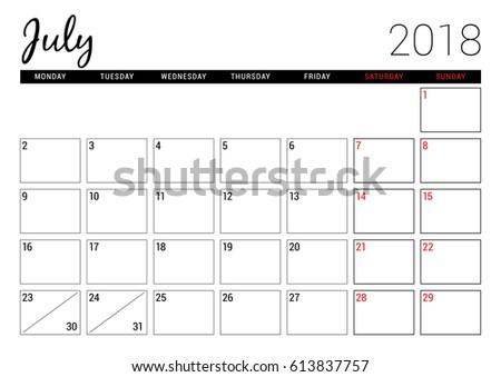 weekly calendar july 2018
