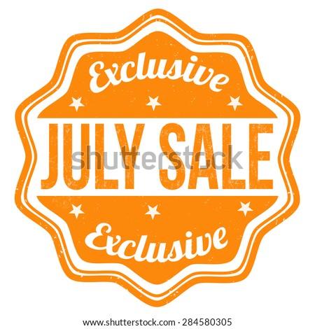 July sale grunge rubber stamp on white, vector illustration - stock vector