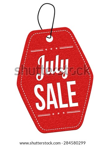 July sale red leather label or price tag on white background, vector illustration