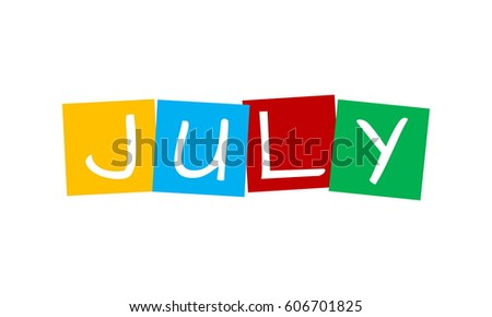 july, text in colorful rotated squares