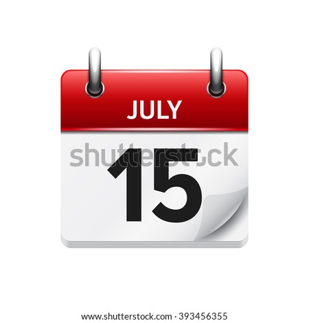 Vector Flat Daily Calendar Icon. Date And Time, Day, Month
