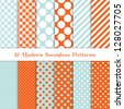 Jumbo Polka Dot, Gingham and Diagonal Candy Stripes Patterns in Aqua Blue, Coral Orange and White. Pattern Swatches with Global Colors. Matches my other pattern packs Image ID: 121349323. - stock vector