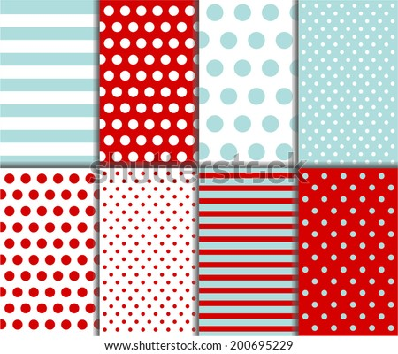 Jumbo Polka Dot, Gingham and Diagonal Stripes Patterns in Aqua Blue, Dark Red and White. Pattern Swatches with Global Colors. Abstract vector background - stock vector