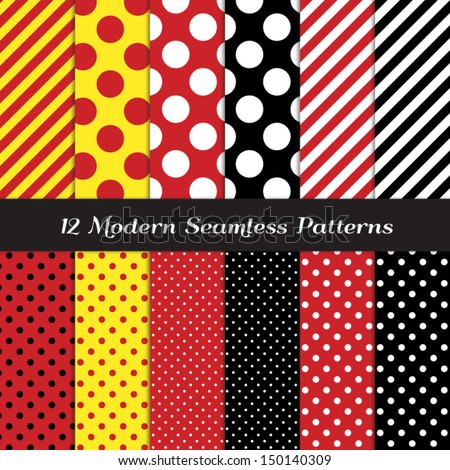 Jumbo Polka Dots, Small Polka Dots and Diagonal Stripes Patterns in Red, Black, White and Yellow. Perfect for Pirate birthday party background. Pattern Swatches made with Global Colors.