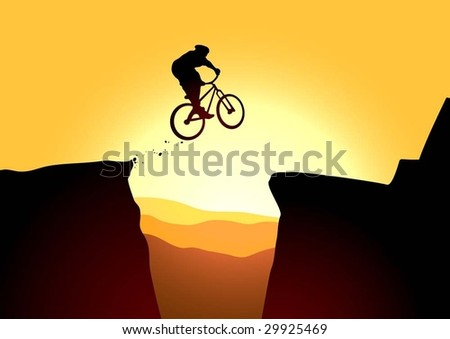 Jump in mountain on the bike - stock vector