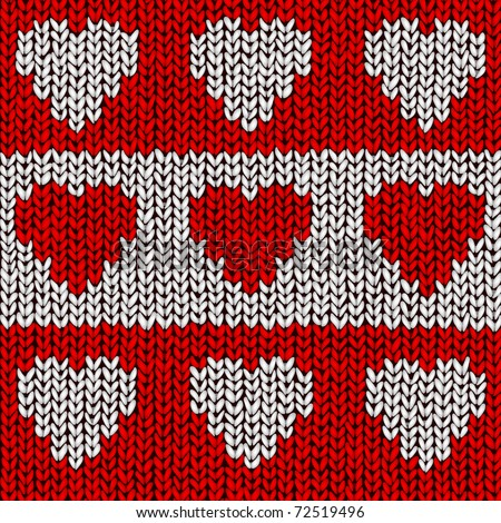 Jumper vector pattern with hearts - stock vector