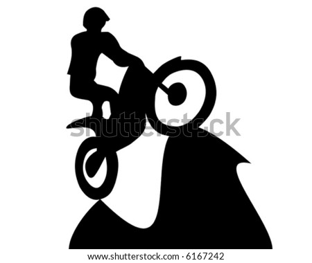 Jumping at a trial motorcycle - vector illustration - silhouette - stock vector