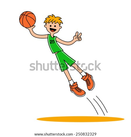 Jumping basketball player 1. The smiling boy jumped up with a ball. Vector illustration isolated on a white background for sports design.  - stock vector