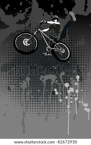 Jumping biker - stock vector