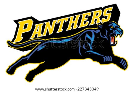 jumping black panther - stock vector
