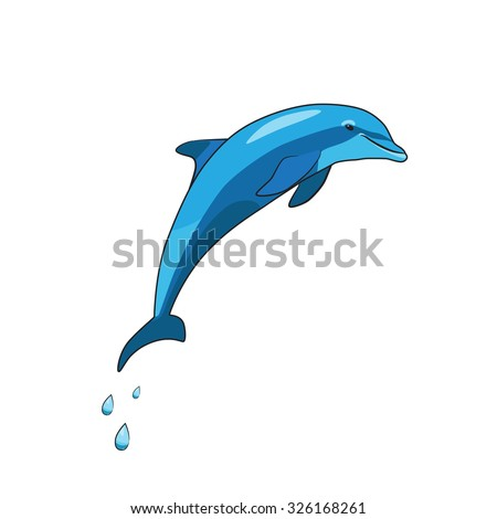 Jumping cartoon dolphin with drops isolated on white background. Vector illustration