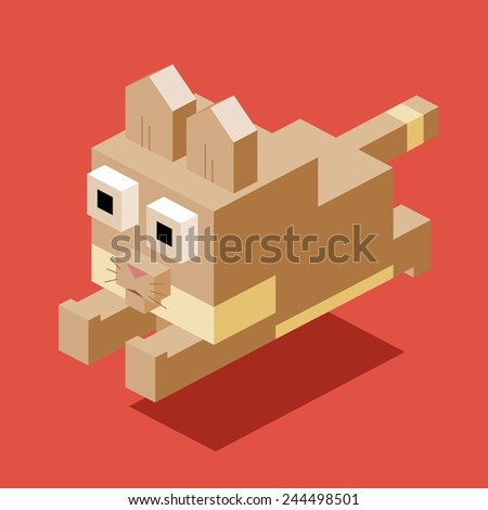 jumping cat. 3d pixelate isometric vector - stock vector