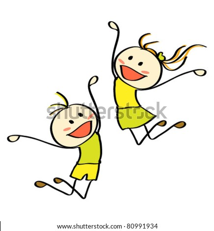 Jumping children isolated on white - stock vector