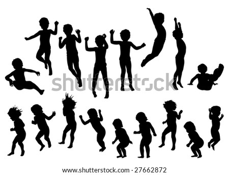 jumping children silhouette. black vector