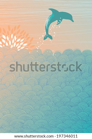 Jumping Dolphin and Hand-Drawn Waves - stock vector