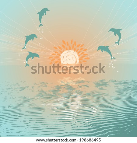Jumping Dolphins - stock vector