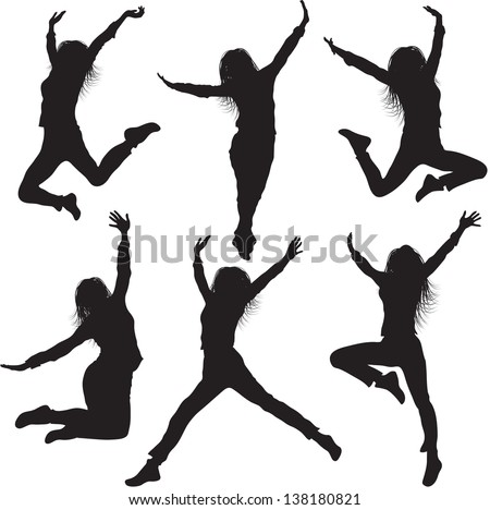 Jumping female silhouettes - stock vector