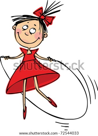 Jumping Girl - stock vector